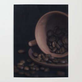 Scattered coffee beans Poster