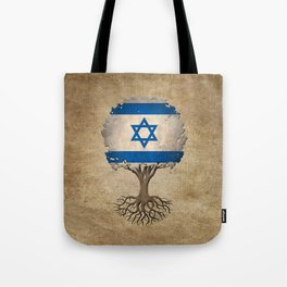 Vintage Tree of Life with Flag of Israel Tote Bag