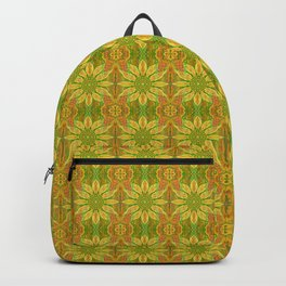 Sun Flower, bohemian floral, yellow, green & orange Backpack