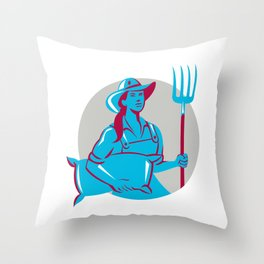 Female Organic Farmer Sack Pitchfork Circle Retro Throw Pillow
