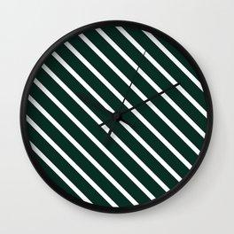 Deep Forest Diagonal Stripes Wall Clock