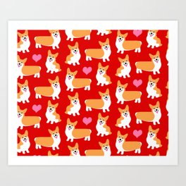 Pembroke Welsh Corgi Cute Red Pattern Art Print