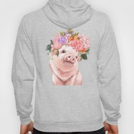 Baby Pig with Flowers Crown in Pastel Green Hoody