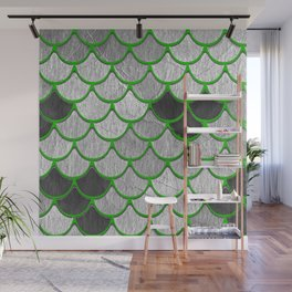 Dragon Scales with Green Outline Wall Mural