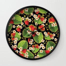 Strawberries Botanical Wall Clock