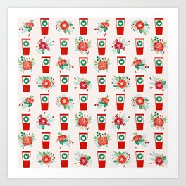 Coffee holiday cups floral bouquet flowers coffees cafe basic art Art Print
