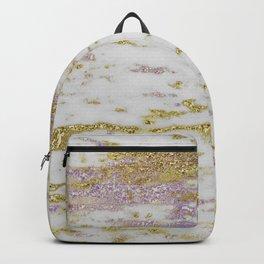 Gold Pantone Purple Marble Design Backpack