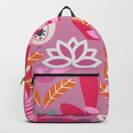 Apples and plants in shades of pink Backpack