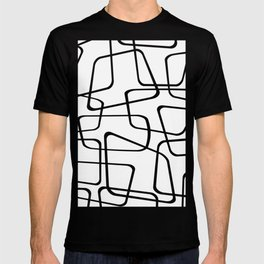 Mid Century Black And White Pattern T-shirt