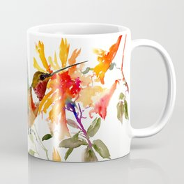 Hummingbird and Orange Floral Design Coffee Mug