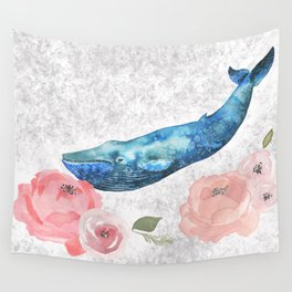Whale Amongst the Roses Wall Tapestry