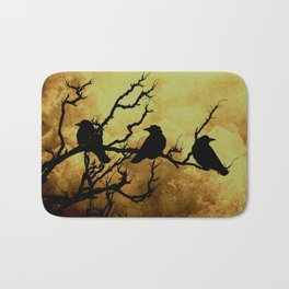 Crows on Branch Against Stormy Sky A522 Bath Mat