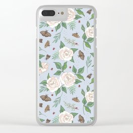 Roses, Moths and Ladybirds Clear iPhone Case