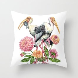 Painted Storks with Florals Throw Pillow