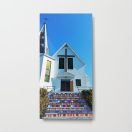 Easter Colored Church Steps Metal Print