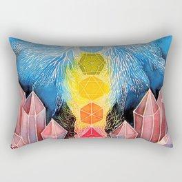 Mushroom Chakra Crystal Tapestry Rainbow Psychedelic Sacred Geometry Painting Art (Teonanacatl) Rectangular Pillow