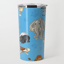 African Animals-Kids Blue background Travel Mug