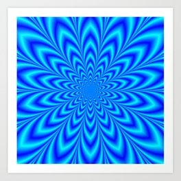 Star Flower in Shades of Blue Art Print
