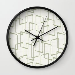 Reverse Beryl Green Mid Century Geometric Pattern Wall Clock