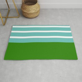Summer Delight, teal, white and green Rug