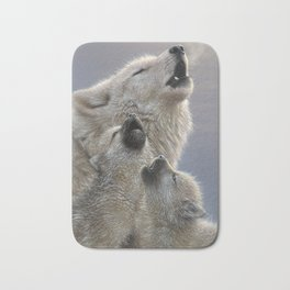 Wolf Pups Howling - Singing Lesson Bath Mat