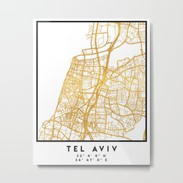 TEL AVIV ISRAEL CITY STREET MAP ART Metal Print