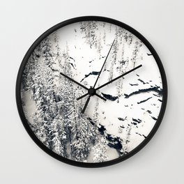 Snow on Textures of Pine Trees and Cliffs Wall Clock