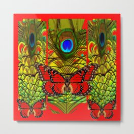 RED MONARCH BUTTERFLIES LIME COLOR PEACOCK ART Metal Print
