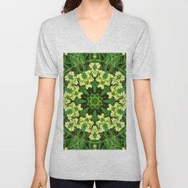Cream and green botanical mandala - Baptisia flowers 1 Unisex V-Neck