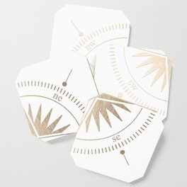 Gold on White Compass Coaster