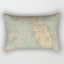 Vintage Lighthouse Map of Florida (1898) Rectangular Pillow