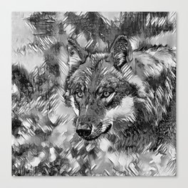 AnimalArtBW_Wolf_20170605_by_JAMColorsSpecial Canvas Print