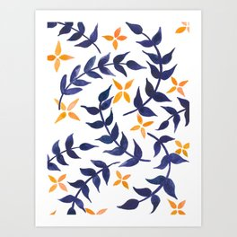 Floral pattern - blue and orange palette  Art Print