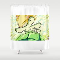 kindle Shower Curtains featuring Light in Doomsday by garciarts
