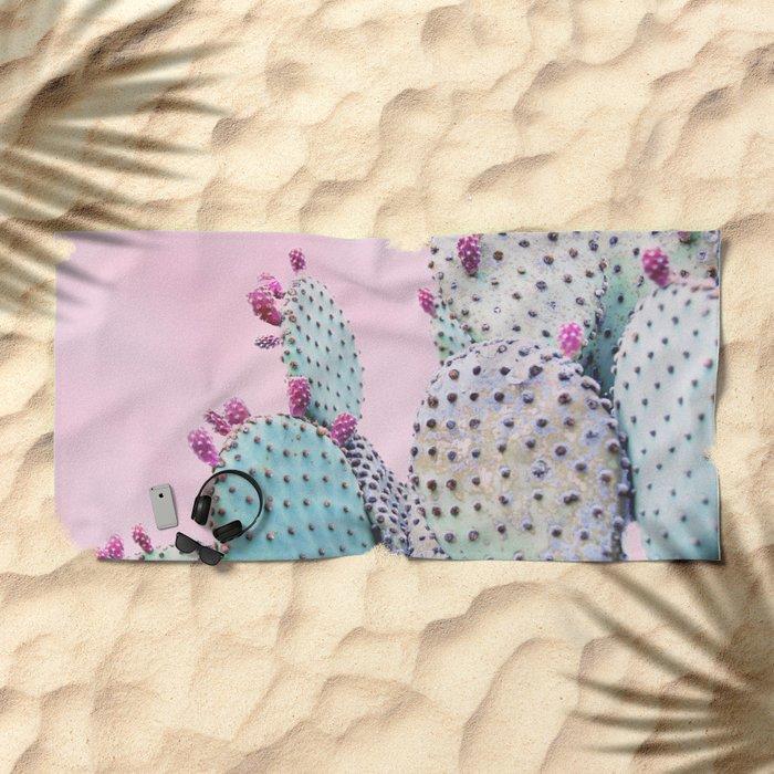 Pink Crush Cactus I Beach Towel