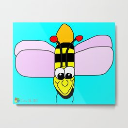 Happy Bumble Bee Metal Print