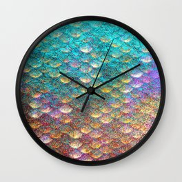 Aqua and Gold Mermaid Scales Wall Clock