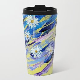Daisies on bright violet and yellow background Travel Mug