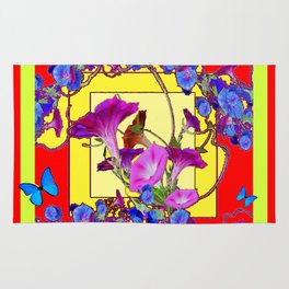 Red & Yellow Morning Glory Vines & Blue Butterflies Art Rug
