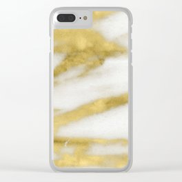 Marble - Gold Marble on White Pattern Clear iPhone Case