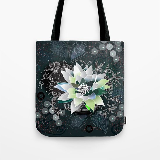 Dark blue and black zentangle inspired waterlily  Tote Bag