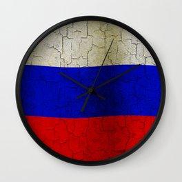 Grunge Russia flag Wall Clock