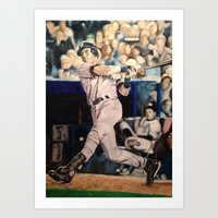 yankees Art Prints featuring Derek Jeter by Lance Gebhardt