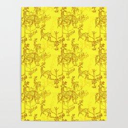 Oh Deer Yellow Poster