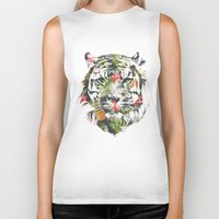 tropical Biker Tanks featuring Tropical tiger by Robert Farkas