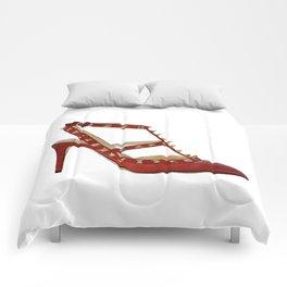 Valentino Rockstud pumps fashion illustration red gold Comforters