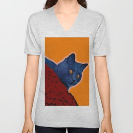 Blue Cat in Tree Unisex V-Neck