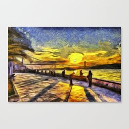 Sunset Fishing Istanbul Van Gogh Canvas Print