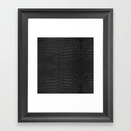 Black Crocodile Leather Print Framed Art Print