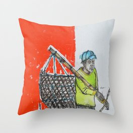 Seaweed Farmer - Island of Bali - Carrying the days Catch Throw Pillow
